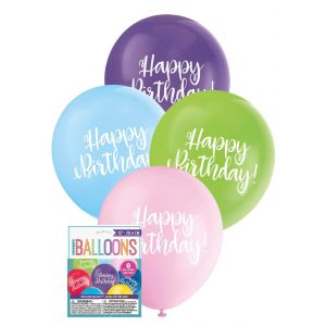 "Balloons_Happy_Birthday_8_x_30.4cm_(12"")_-_Assorted_Colours"