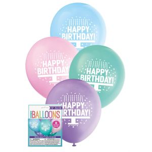 "Balloons_Happy_Birthday_Cake_8_x_30cm_(12"")_-_Assorted_Pastel_Colours"