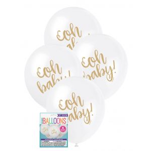 "Balloons_Oh_Baby_8_x_30cm_(12"")_-_White"