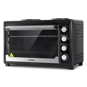 Devanti_Electric_Convection_Oven_Benchtop_Rotisserie_Grill_60L_Hotplate_Black
