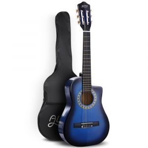 "Alpha_34""_Inch_Guitar_Classical_Acoustic_Cutaway_Wooden_Ideal_Kids_Gift_Children_1/2_Size_Blue"