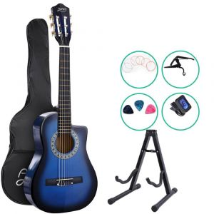 "Alpha_34""_Inch_Guitar_Classical_Acoustic_Cutaway_Wooden_Ideal_Kids_Gift_Children_1/2_Size_Blue_with_Capo_Tuner"