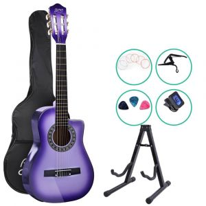 "Alpha_34""_Inch_Guitar_Classical_Acoustic_Cutaway_Wooden_Ideal_Kids_Gift_Children_1/2_Size_Purple_with_Capo_Tuner"