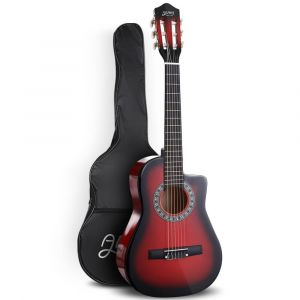 "Alpha_34""_Inch_Guitar_Classical_Acoustic_Cutaway_Wooden_Ideal_Kids_Gift_Children_1/2_Size_Red"