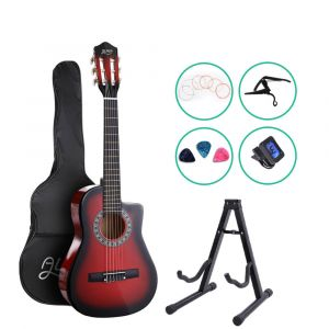 "Alpha_34""_Inch_Guitar_Classical_Acoustic_Cutaway_Wooden_Ideal_Kids_Gift_Children_1/2_Size_Red_with_Capo_Tuner"