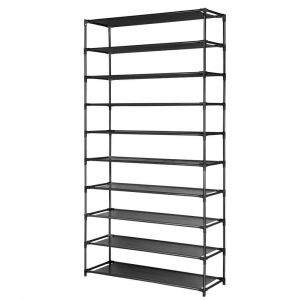 50_Pairs_10_Tier_Shoe_Rack_Metal_Shelf_Holder_Stackable_Portable_Black